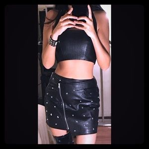 Forever 21 faux leather skirt black studded XS